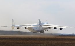 Antonov An-225 Mriya aircraft at Gostomel Airport, Kiev, Ukraine. KYIV, UKRAINE - APRIL 3, 2018: Ukrainian Antonov An-225 `Mriya` aircraft takes off from the Stock Photos