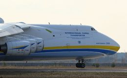 Antonov An-225 Mriya aircraft at Gostomel Airport, Kiev, Ukraine. KYIV, UKRAINE - APRIL 3, 2018: Ukrainian Antonov An-225 `Mriya` aircraft takes off from the Royalty Free Stock Images