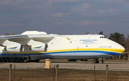 Antonov An-225 Mriya aircraft at Gostomel Airport, Kiev, Ukraine. KYIV, UKRAINE - APRIL 3, 2018: Ukrainian Antonov An-225 `Mriya` aircraft takes off from the Stock Image