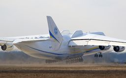 Antonov An-225 Mriya aircraft at Gostomel Airport, Kiev, Ukraine. KYIV, UKRAINE - APRIL 3, 2018: Ukrainian Antonov An-225 `Mriya` aircraft takes off from the Stock Images