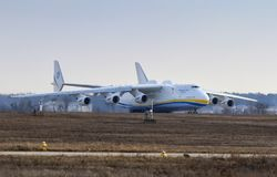 Antonov An-225 Mriya aircraft at Gostomel Airport, Kiev, Ukraine. KYIV, UKRAINE - APRIL 3, 2018: Ukrainian Antonov An-225 `Mriya` aircraft takes off from the Stock Photo