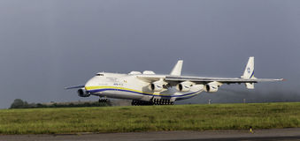Antonov An-225 Mriya cargo plane. Departing from Prague airport Stock Images