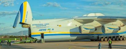 Antonov 225 Mriya. ZAGREB, CROATIA - NOVEMBER 10: Loading heavy weight cargo to the Antonov 225 Mriya airplane on November 10, 2013 Zagreb, Croatia. It is the royalty free stock photos