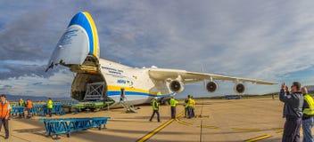 Antonov 225 Mriya. ZAGREB, CROATIA - NOVEMBER 10: Loading heavy weight cargo to the Antonov 225 Mriya airplane on November 10, 2013 Zagreb, Croatia. It is the stock photo