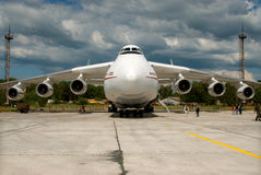 Antonov 225 Mrya. Gostomel, Ukraine - June 08, 2006. Antonov 225 Mrya on the background of storm cumulus clouds Stock Photography