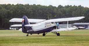 Antonov An-2 piston aircraft on Goraszka Air Show in Poland. Old soviet biplane, piston aircraft dedicated to passenger transport owned by White Eagle Aviation Stock Photography