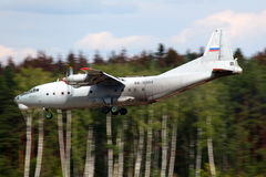 Antonov An-12 RA-11344 Rosyjski siły powietrzne lądowanie przy Chkalovsk Zdjęcie Stock