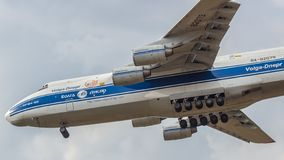 An An-124 `Ruslan` cargo turbojet plane lands at Moscow`s Sheremetyevo Airport SVO royalty free stock images