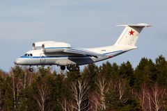 Antonov An-72 949 SVART av rysk flygvapenlandning på Chkalovsky Arkivbilder