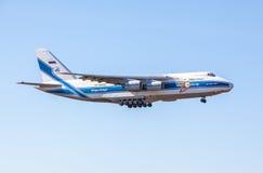 Antonov An-124-100. Volga-Dnepr Antonov An-124-100 approaches KEF Airport in Iceland Stock Photography