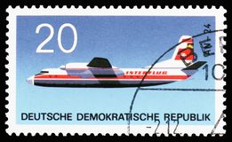 Antonow AN-24, Aviation serie, circa 1969. MOSCOW, RUSSIA - OCTOBER 6, 2018: A stamp printed in Germany, Democratic Republic shows Antonow AN-24, Aviation serie royalty free stock image