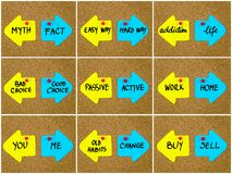 Antonym concepts written on opposite arrows Royalty Free Stock Photos