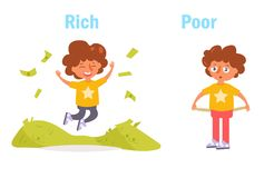 Antonym. Rich and poor Vector. Cartoon. Isolated art on white background. Flat stock illustration