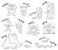 Antonyms Cartoons, Black and White. Black and white cartoon characters illustrating antonymous adjectives, can be used as a teaching aid for a foreign language Royalty Free Stock Photo