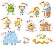 Antonyms Cartoons Stock Images