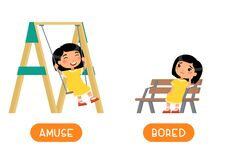 Free Antonyms Concept, AMUSE And BORED. Educational Word Card With Opposites. Stock Photos - 184754973