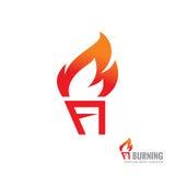 Antorcha ardiente - vector el ejemplo del concepto de la plantilla del logotipo Muestra creativa de la llama del fuego Elemento d stock de ilustración