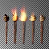 Antorcha con la llama Fuego realista Antorcha realista del fuego aislada en fondo transparente Ilustración del vector stock de ilustración
