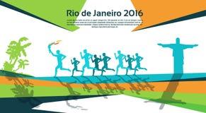 Antorcha corriente Rio Sport Competition Concept de Group With Fire del atleta Fotografía de archivo