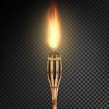 Antorcha de bambú de la playa ardiente con la llama Fuego realista Antorcha realista del fuego aislada en fondo transparente Vect stock de ilustración