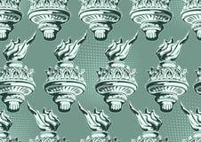 Antorcha de la estatua de Liberty Seamless Pattern stock de ilustración