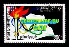 Antorcha olímpica, 100 años del serie olímpico internacional de Commettee, circa 1994 Imagen de archivo