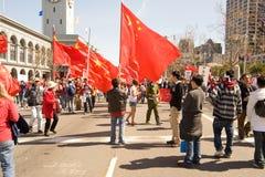 Antorcha olímpica Protests_SF Imagen de archivo