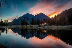 Antorno Lake Reflections. Got lucky with the timing, just caught the sunset reflected in Lake Antorno in the Dolomites. Shot on a nikon D810 royalty free stock photography