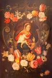 Antowerp - Madonna με το παιδί και το ST John ο βαπτιστικός μεταξύ των λουλουδιών Χρώμα στο δευτερεύοντα διάδρομο της εκκλησίας τ Στοκ εικόνα με δικαίωμα ελεύθερης χρήσης