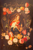 Antowerp - Madonna with the child and st. John the Baptist among the flowers. Paint in side corridor of St. Pauls church Royalty Free Stock Image