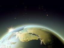 Antractic από το διάστημα κατά τη διάρκεια της ανατολής Στοκ Φωτογραφίες
