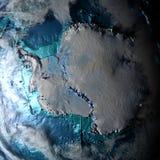 Antractic στο φυσικό χάρτη Στοκ Φωτογραφία