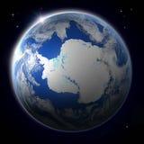Antractic od przestrzeni podczas zmierzchu Zdjęcie Royalty Free