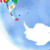 Antractic sur le globe politique avec des drapeaux Photos libres de droits