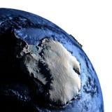 Antractic sur terre avec les montagnes exagérées Image stock