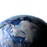 Antractic sur terre - fond océanique évident Images stock