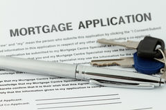 Antrag auf Hypothekendarlehen Stockbild