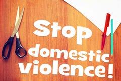 Antrag, häusliche Gewalt zu stoppen stockbild