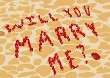 Antrag, zum von den rosafarbenen Blumenblättern auf dem Hintergrund von Straßenfliesen zu heiraten Lizenzfreies Stockfoto
