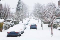 Antreiben in Schnee Lizenzfreies Stockfoto