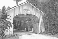 Antrieb-Nebenfluss-überdachte Brücke in der Oregon-Bleistift-Skizze lizenzfreie stockfotos