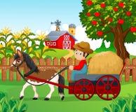Antriebspferdewagen des kleinen Jungen der Karikatur Lizenzfreies Stockfoto