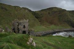 Antrim Coast with cloudy sky at Kinbane Castle,. Ireland, north-ireland stock photos