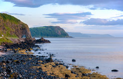 Antrim Coastal Road in Northern Ireland. The eastern coast of Northern Ireland and Antrim Coastal road with a tunnel stock photography