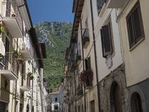 Antrodoco Rieti, Λάτσιο, Ιταλία, παλαιά οδός Στοκ εικόνες με δικαίωμα ελεύθερης χρήσης