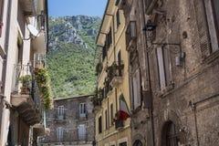 Antrodoco Rieti, Λάτσιο, Ιταλία, παλαιά οδός Στοκ Εικόνες
