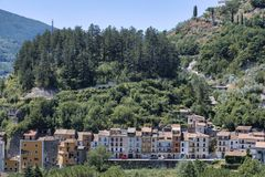Antrodoco Rieti, Λάτσιο, Ιταλία, πανοραμική άποψη Στοκ φωτογραφίες με δικαίωμα ελεύθερης χρήσης