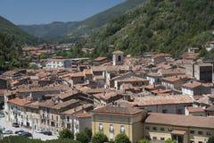 Antrodoco Rieti, Λάτσιο, Ιταλία, πανοραμική άποψη Στοκ Εικόνα