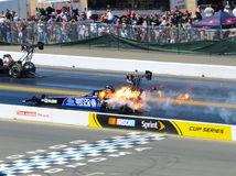 Antron Brown dragster explodes Royalty Free Stock Photography