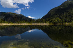 Antrona lake: landscape with reflections on water Royalty Free Stock Photos